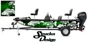 Graphic Abstract Fishing Bass Boat Pontoon Decal Vinyl Green Wrap Skeletons Fish