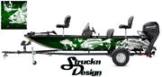 Graphic Pontoon Decal Vinyl Green Wrap Skeletons Fishing Bass Boat Abstract Fish