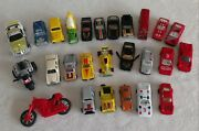 Lot 26 Vintage Toy Cars Bus Pickup Motorcycle 3wheel Trucks Cement Drag 1970-80s