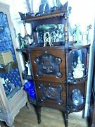 1800's Victorian Carved Record Cabinet/etagere Stick-n-ball Twist Masterpiece