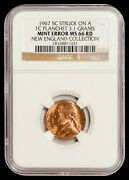 1967 Jefferson Nickel Ngc Ms66rd - Mint Error Struck On 1c Planchet