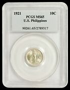 1921 10 Centavo Pcgs Ms65 - United States Philippines / Uspi - Only 3 Higher