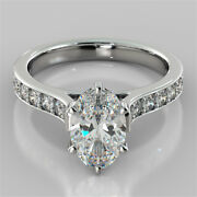 2.32 Ct Oval Solitaire Diamond Engagement Ring Real 14k White Gold Size 7 A7