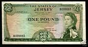 Jersey 1 Pound P8 1963 Queen With Out Sign Error Rare Great Britain Gb Uk Note