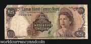 Cayman 25 Dollars P-4 1971 Queen Turtle Map Rare Gb Currency Money Bill Banknote
