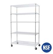 Seville Ultradurable Commercial-grade 5-tier Nsf Steel Wire Shelving With Wheels