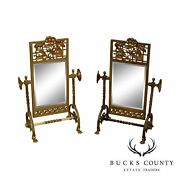 Aesthetic Movement Antique 1880and039s Brass Pair Cheval Beveled Vanity Mirrors