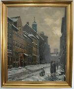 Animated City Scene In Winter 1. Half 20. Jh Signed Th. Nygaard Oil On L