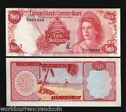 Cayman Islands 10 Dollars P-7 1974 Queen Conch Unc Currency Money Bill Rare Note
