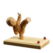 Tj156ca - 9.7x6x8 Cm With The Base Carved Boxwood Carving Kungfu Boy Monk