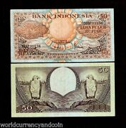Indonesia 50 Rupiah P-68 1959 Replacement Fish Eagle Sun Flower Money Bank Note