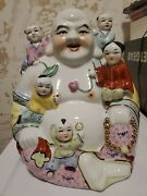 Vintage Porcelain Laughing Buddha With Children Statue 13h X 11w Free Shipping
