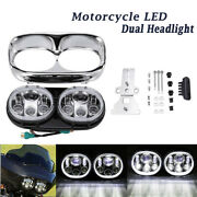 Motorcycle Led Hi-lo Beam Dual Headlight For Harley 2004 -2013 Fltr Road Glide