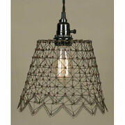 Primitive French Wire Pendant Lamp In Rust/green Finish Ctw New