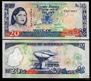 Mauritius 20 Rupees P36 1986 Aa Lady Jugnauth Unc Satellite Currency Money Note