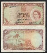 Rhodesia And Nyasaland 10 Shillings P-20 1961 Queen Ship Rare Africa Currency Note