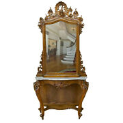 Antique Console And Mirror Italian Louis Xv Style Monumental 19th C. 1800s