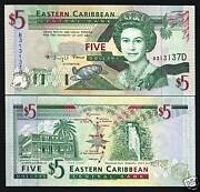 East Caribbean States Dominica 5 Dollars P31d 1994 Unc Queen Turtle Money Note