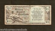 Usa United States America 10 Doll Mpc 481 Military Payment Certificate Korea War