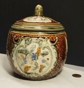 Antique Majolica Tobacco Jar With Lid Replica Of Austria C.1800and039s Style Brown