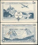 France Vietnam 50 Viallant Airplane Boy Scout Blue First Type Rare French Note