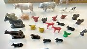 L👀k Vintage Lot Of 27 Plastic Animals Cows Chickens Horses Pigs Dogs Geese