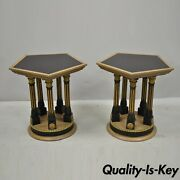 Pair Vintage French Empire Corinthian Column Glass Top Hexagon Small Side Tables