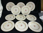 Lenox Usa Nydia Set Of 11 Dinner Plates 10 1/2 -red Flower Gold Trim
