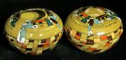 Buffalo Pottery Deldare Village Street Hair Receiver And Powder Jar - Both Signed