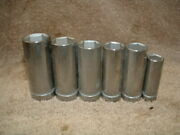 New Nos Set Of 6 Indestro Usa Forged 3/8 Drive, 6 Point, Deep Socket Set
