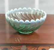 Vintage Indiana Glass Latiara Turquoise Green Frosted Bowl Swirl Pattern 02025