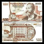 Austria 500 Schillings P-151 1985 Euro Post Office Bank Rare Currency Banknote
