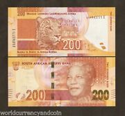 South Africa 200 Rand P137 A 2012 W/o Omron Noble Mandela Panther Tiger Unc Note