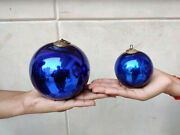 Antique Kugel 4.5 And 3 Pair Cobalt Blue Colur Round Christmas Ornaments Germany