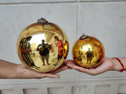 Antique Kugel 6.25 And 4.25 Pair Golden Colour Round Christmas Ornaments Germany