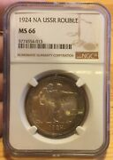 Rouble 1924 ПЛ Ngc Ms 66 Silver Russia Super Patina