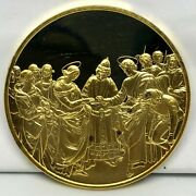 1977 Marriage Of Virgin Raphael Gold Electroplate Sterling Silver Proof Medal