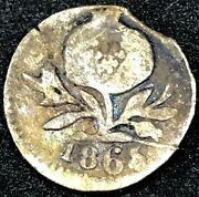1865 Colombia- Popayan 1/4 Real 0.900 Silver - Very Rare Coin- Km143.2.