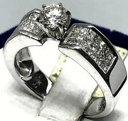 14k White Gold Diamond Invisible Set Engagement Ring With Solitary Head Stone.