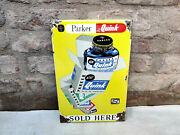Vintage Enamel Sign Parker Quink Sold Here Office Advertising Collectible 1950s