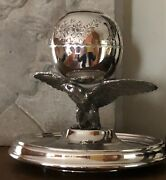 Extraordinary And Rare Antique Silver Inkwell Large Eagle Holding Up Globe