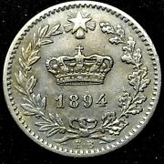 Italy 20 Centesimi 1894 Kb Copper-nickel Coin- Km28.1 About Au/ms -rare.