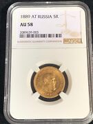 5 Ruble 1889 At А.Г Rouble Gold Russian Empire Czar Alexander Iii Ngc Au 58