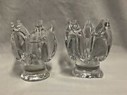 Pair Of Orrefors Swedish Crystal Candle Holder