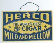 1930andrsquos/1940andrsquos Herco Mild And Mellow 5 Cent Cigar Cardboard Sign 6 Andfrac34 X 4 Inches