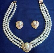 Neckless Earrings Faux Pearl Cubic Zirconia Shell Design Vintage 17 Inch