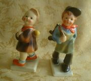 Pair Of Hummel Style U.s. Zone Germany Stamp Boy And Girl Figurines