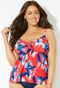 New Nwot Swimsuits For All Ambrosia Cup Sz Tie Front Underwire Tankini Top 24dd