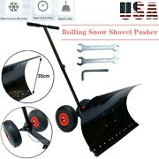 Rolling Winter Snow Shovel Pusher W/ 10-inch Wheels And Adjustable Handle 29x13andrdquo