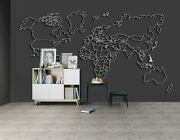 3d Black Lines A202 World Map Wallpaper Wall Mural Removable Self-adhesive Amy